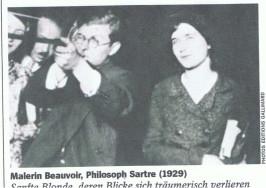 Das erste Foto das Simone mit Sartre zeigt. Rechts Hélène